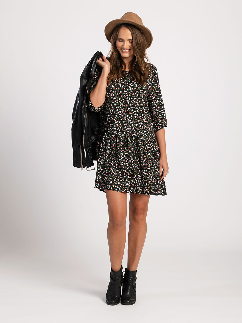 Drop Waist Dress in Ditsy Print