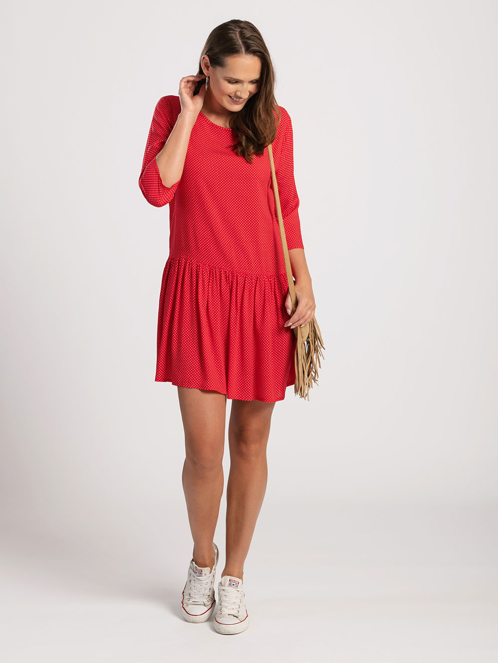 Drop Waist Dress in Red Polka Dot