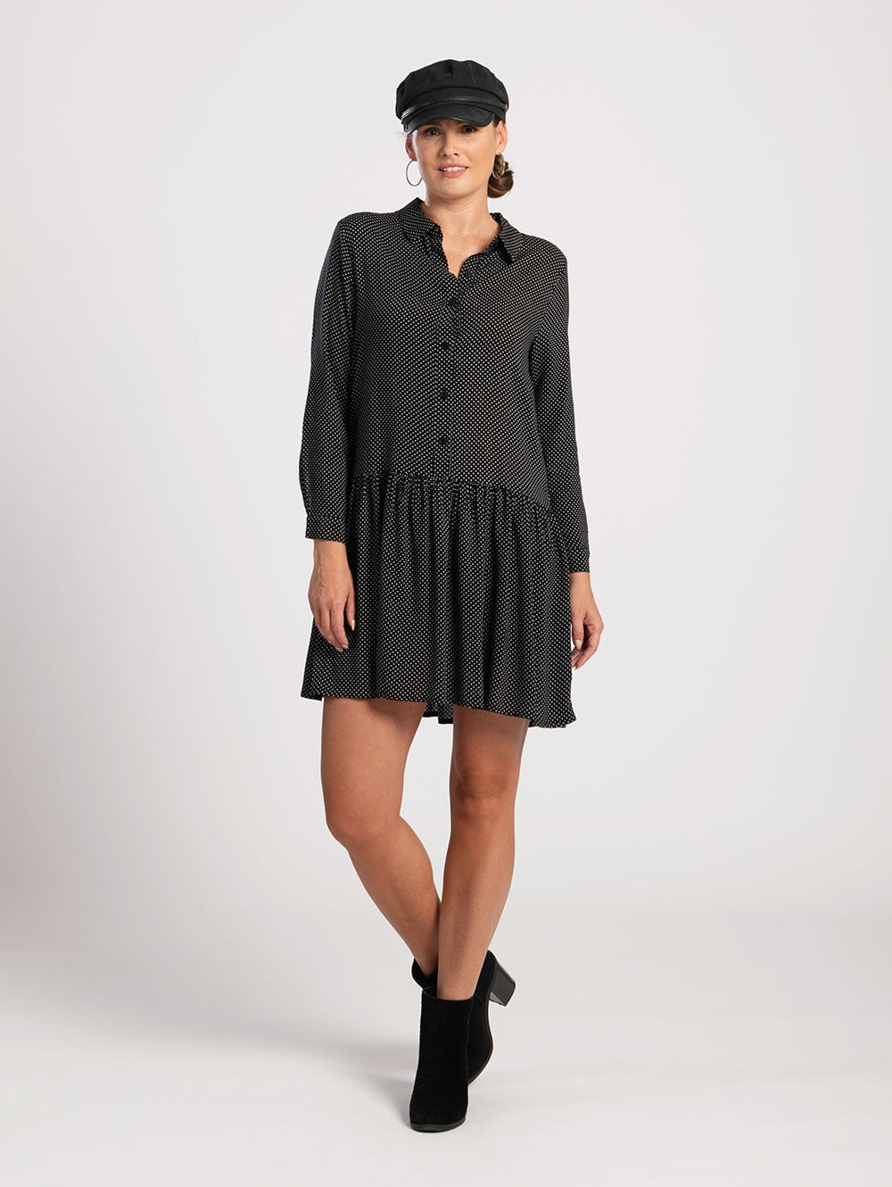 Shirt Dress in Black Polka Dot