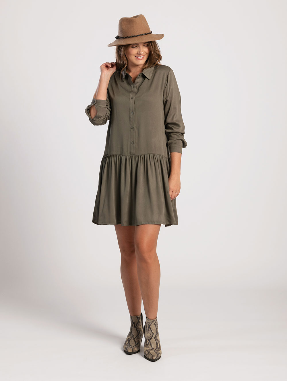 Shirt Dress in Olive