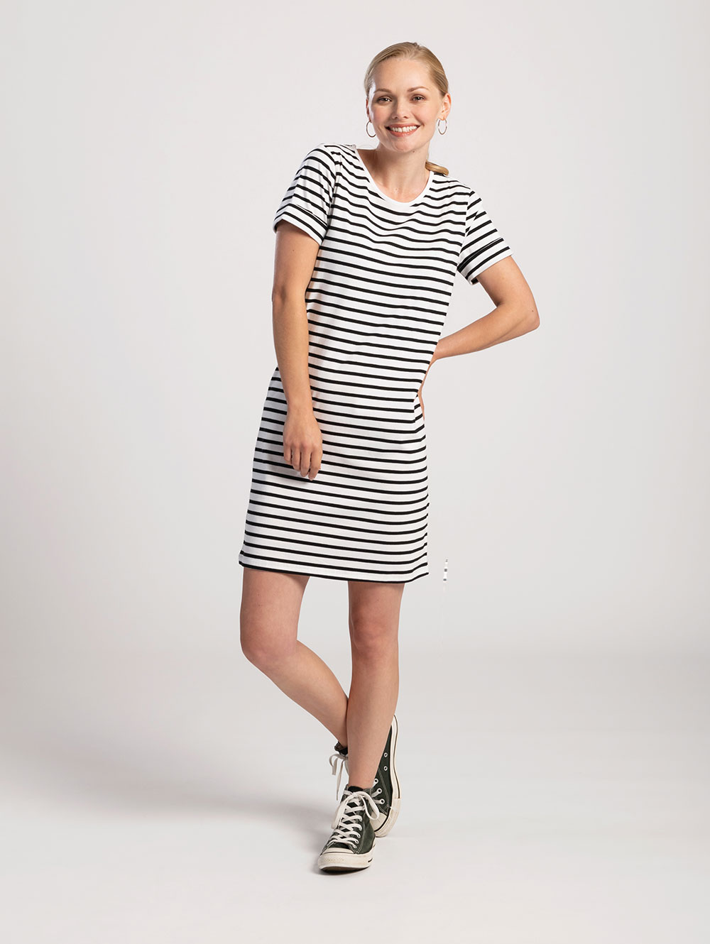 T-Shirt Dress in White with Black Stripe