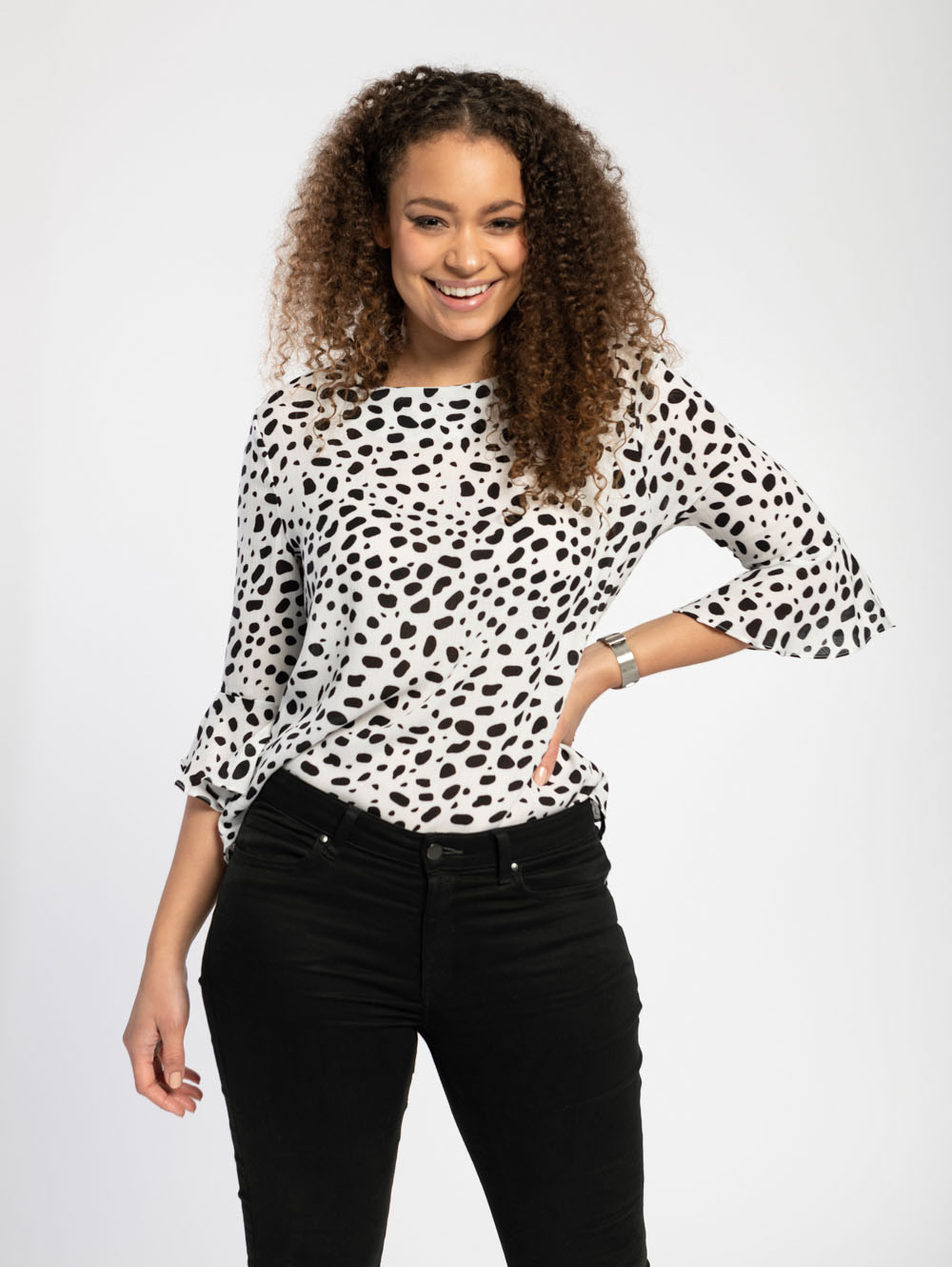 Fluted Sleeve Blouse in Dalmatian Spot