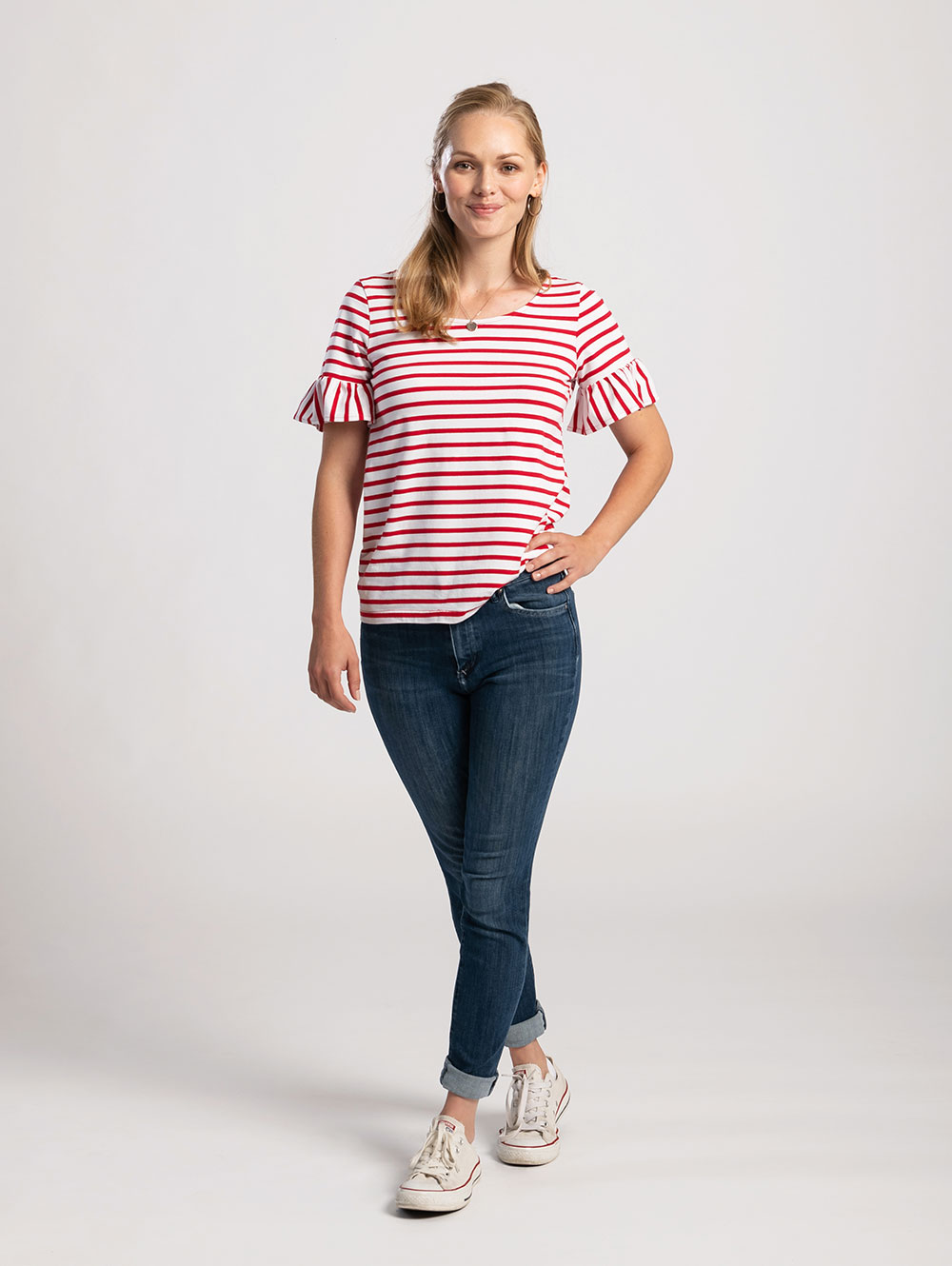 Red & White Stripe Frill Sleeve Tee