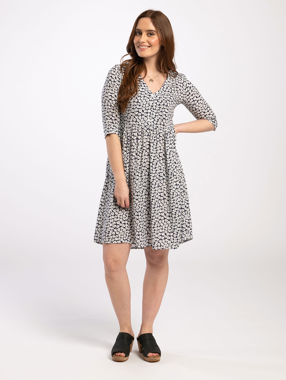 Knee Length Dress in Daisy Print