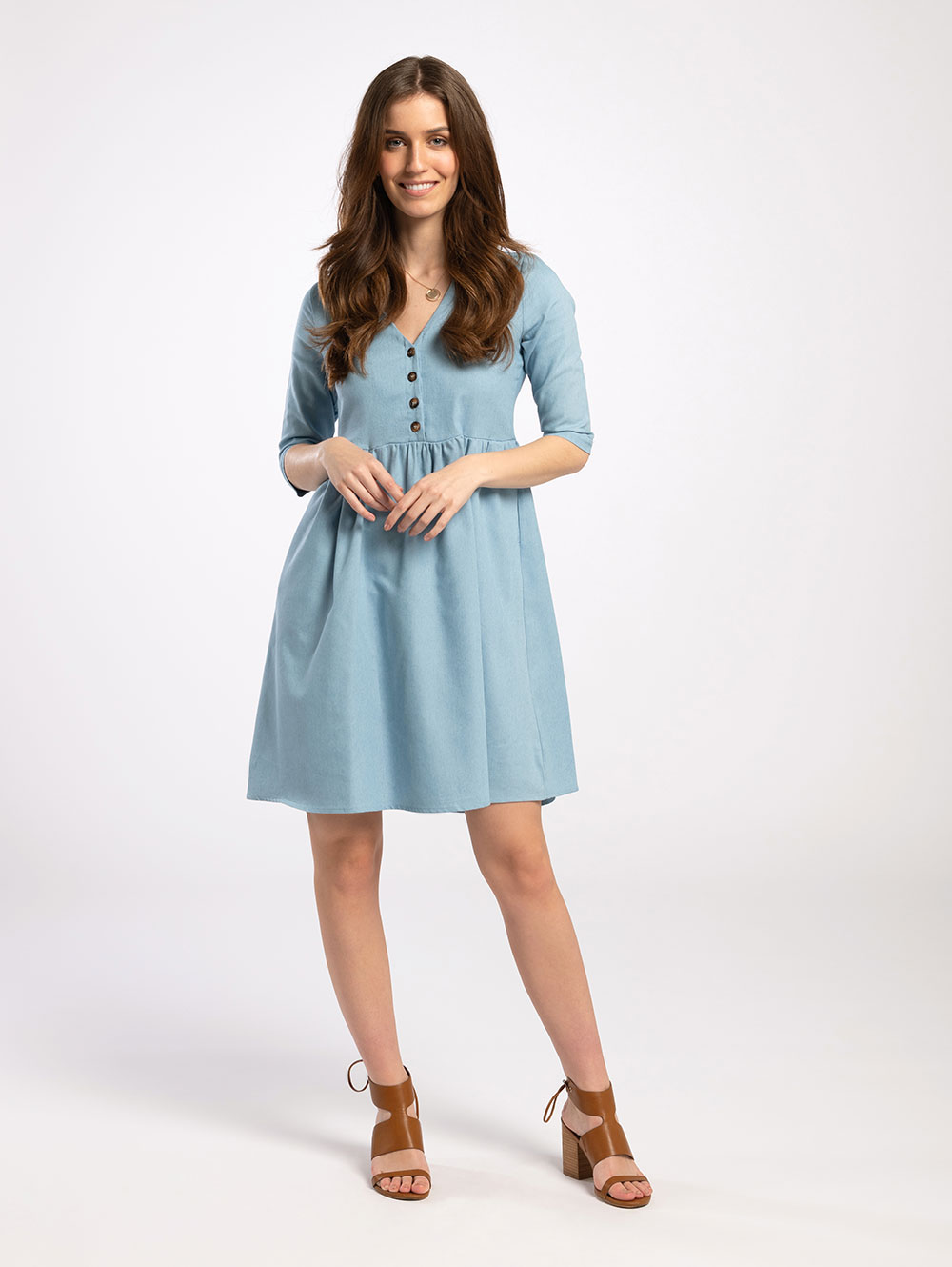 Knee Length Dress in Denim