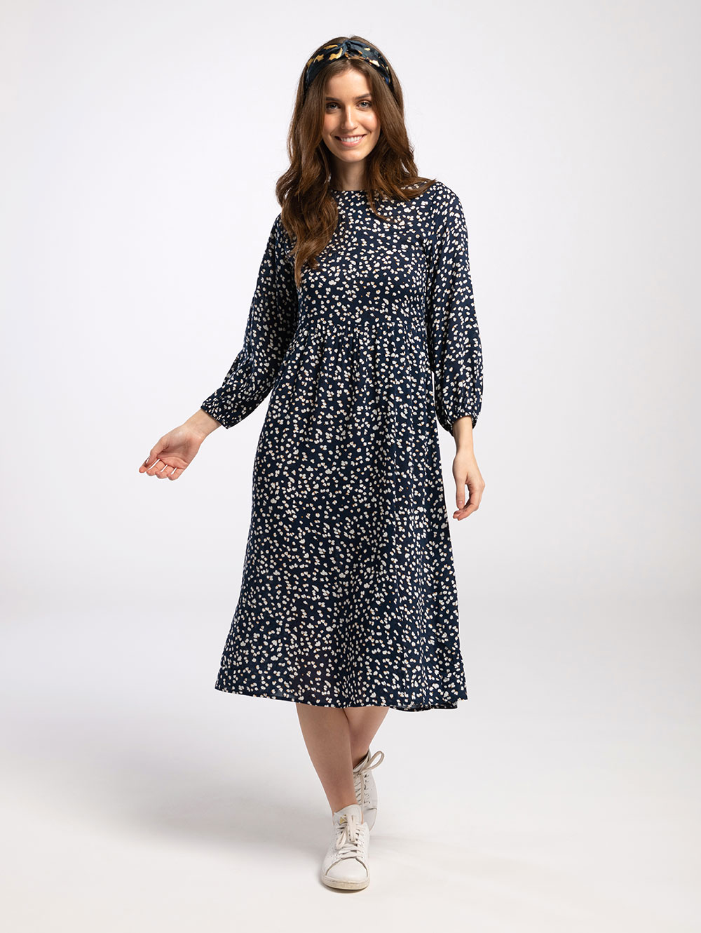 Midi Dress in Navy White Splodge