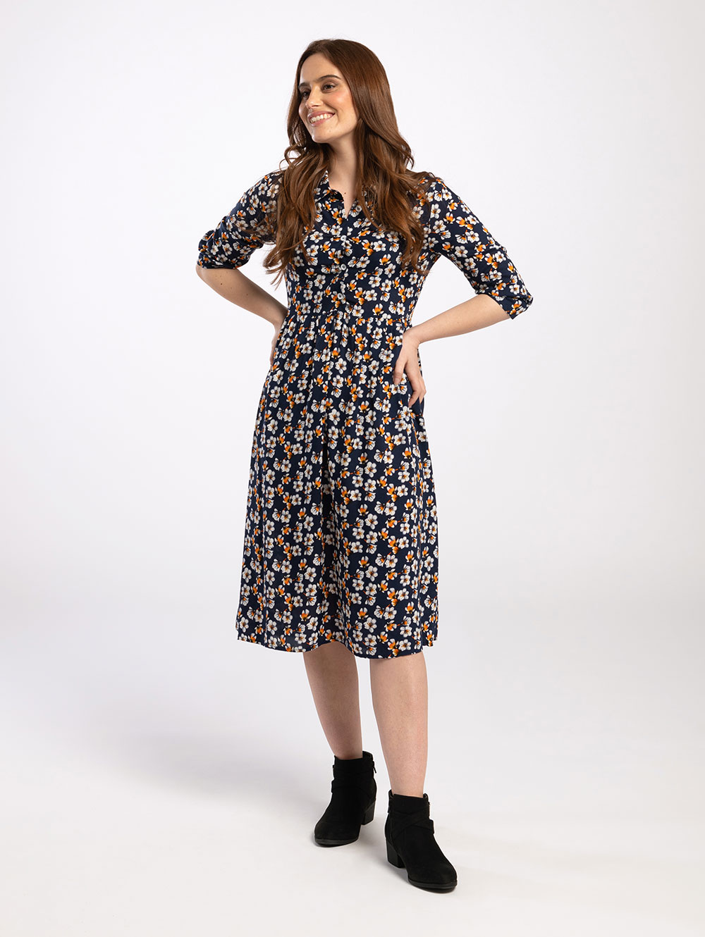 Midi Shirt Dress in Navy Orange Blossom
